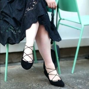 LUCKY BRAND Eaviee Lace Up Ballet Flats Black